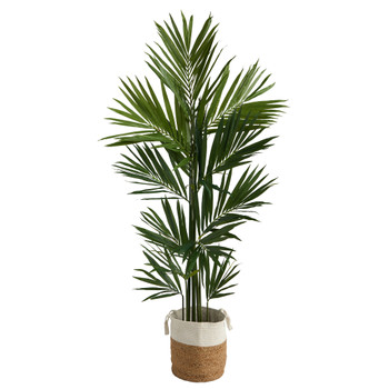 7 Kentia Artificial Palm in Handmade Natural Jute and Cotton Planter - SKU #T2893