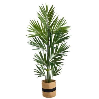 7 Kentia Artificial Palm in Handmade Natural Cotton Planter - SKU #T2895