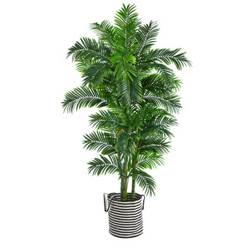 6 Curvy Parlor Artificial Palm Tree in Handmade Black and White Natural Jute and Cotton Planter - SKU #T2896