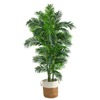 6 Curvy Parlor Artificial Palm Tree in Handmade Natural Jute and Cotton Planter - SKU #T2897