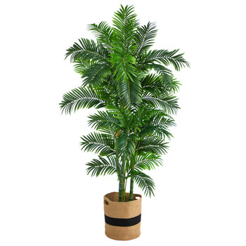 6 Curvy Parlor Artificial Palm Tree in Handmade Natural Cotton Planter - SKU #T2898