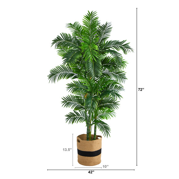 6 Curvy Parlor Artificial Palm Tree in Handmade Natural Cotton Planter - SKU #T2898 - 1