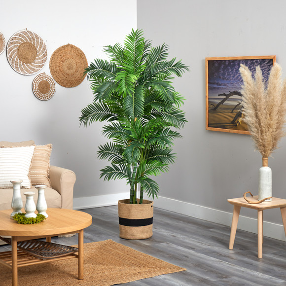 6 Curvy Parlor Artificial Palm Tree in Handmade Natural Cotton Planter - SKU #T2898 - 3