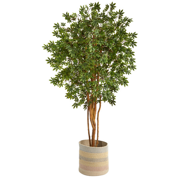 6 Japanese Maple Artificial Tree in Handmade Natural Cotton Multicolored Woven Planter - SKU #T2901