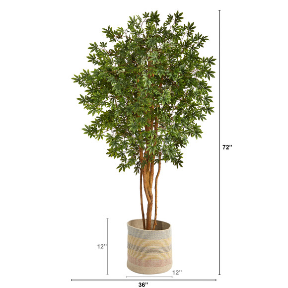 6 Japanese Maple Artificial Tree in Handmade Natural Cotton Multicolored Woven Planter - SKU #T2901 - 1