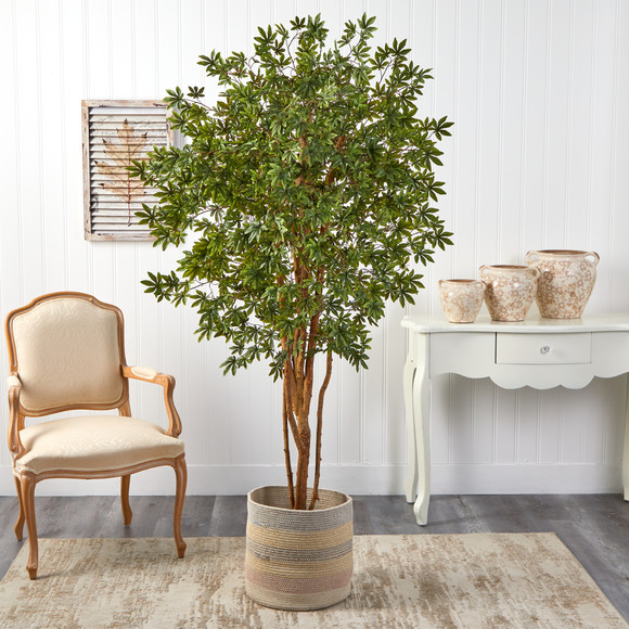 6 Japanese Maple Artificial Tree in Handmade Natural Cotton Multicolored Woven Planter - SKU #T2901 - 2