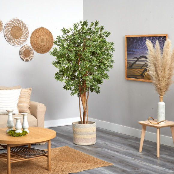 6 Japanese Maple Artificial Tree in Handmade Natural Cotton Multicolored Woven Planter - SKU #T2901 - 3