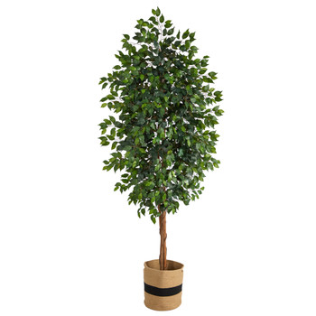 8 Ficus Artificial Tree in Handmade Natural Cotton Planter - SKU #T2902