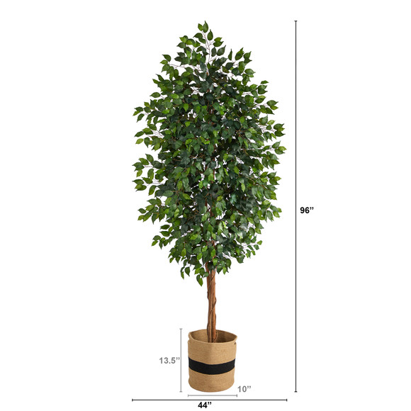 8 Ficus Artificial Tree in Handmade Natural Cotton Planter - SKU #T2902 - 1