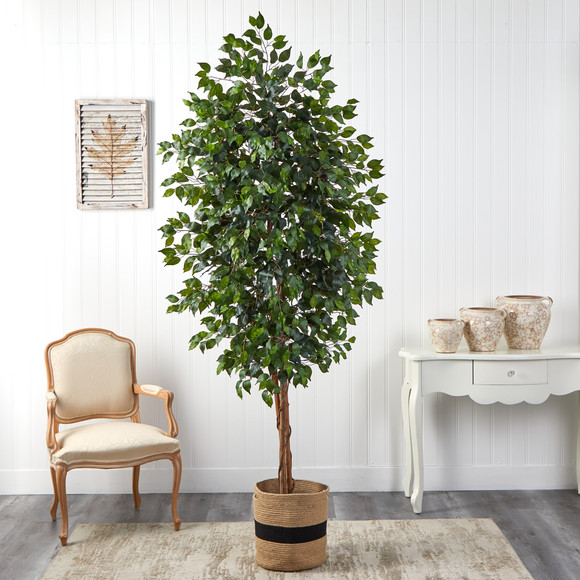8 Ficus Artificial Tree in Handmade Natural Cotton Planter - SKU #T2902 - 2