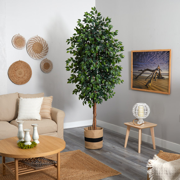 8 Ficus Artificial Tree in Handmade Natural Cotton Planter - SKU #T2902 - 3