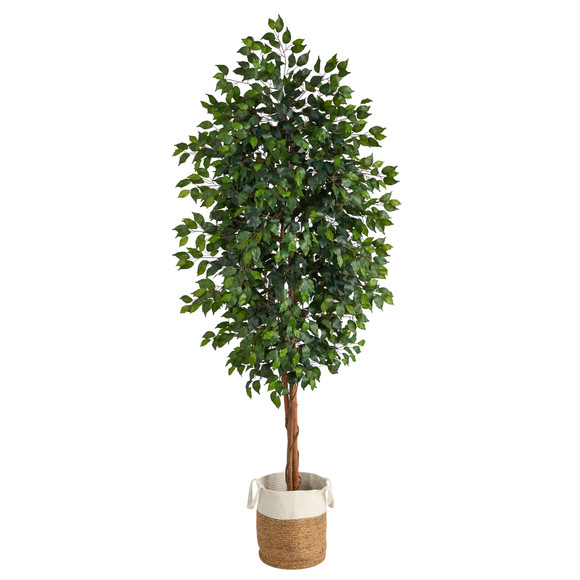 8 Ficus Artificial Tree with Handmade Natural Jute and Cotton Planter - SKU #T2903