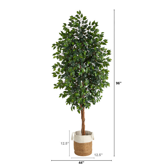8 Ficus Artificial Tree with Handmade Natural Jute and Cotton Planter - SKU #T2903 - 1