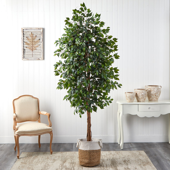8 Ficus Artificial Tree with Handmade Natural Jute and Cotton Planter - SKU #T2903 - 2