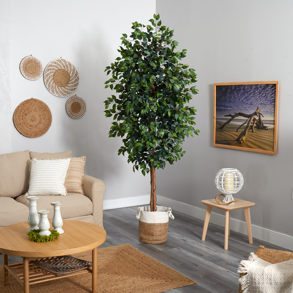 8 Ficus Artificial Tree with Handmade Natural Jute and Cotton Planter - SKU #T2903 - 3