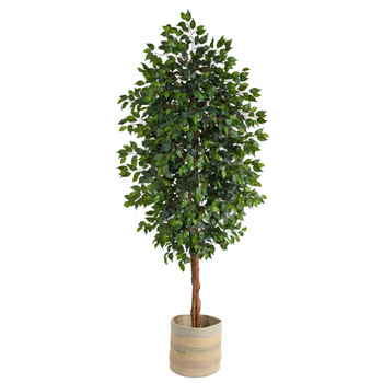 8 Ficus Artificial Tree with Handmade Natural Cotton Multicolored Woven Planter - SKU #T2904