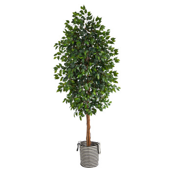 8 Ficus Artificial Tree in Handmade Black and White Natural Jute and Cotton Planter - SKU #T2905