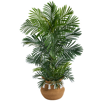 4 Areca Palm Tree in Boho Chic Handmade Natural Cotton Woven Planter with Tassels UV Resistant - SKU #T2907