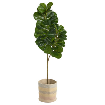 5.5 Fiddle Leaf Fig Artificial Tree in Handmade Natural Cotton Multicolored Woven Planter - SKU #T2909