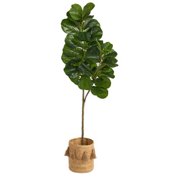 5.5 Fiddle Leaf Fig Artificial Tree in Handmade Natural Jute Planter with Tassels - SKU #T2910
