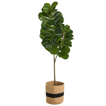 5.5 Fiddle Leaf Fig Artificial Tree in Handmade Natural Cotton Planter - SKU #T2911
