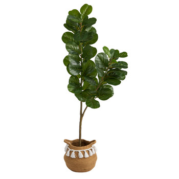 4.5 Fiddle Leaf Fig Tree with Boho Chic Handmade Natural Cotton Woven Planter with Tassels - SKU #T2913