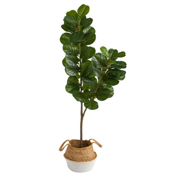 4.5 Fiddle Leaf Fig Artificial Tree with Boho Chic Handmade Cotton Jute White Woven Planter - SKU #T2914