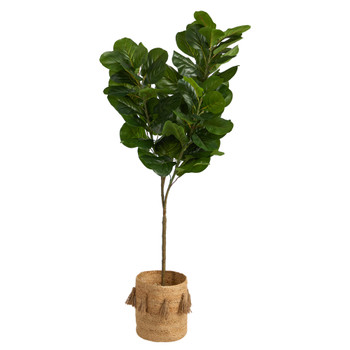 6 Fiddle Leaf Fig Artificial Tree in Handmade Natural Jute Planter with Tassels - SKU #T2915
