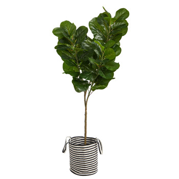 6 Fiddle Leaf Fig Artificial Tree in Handmade Black and White Natural Jute and Cotton Planter - SKU #T2916
