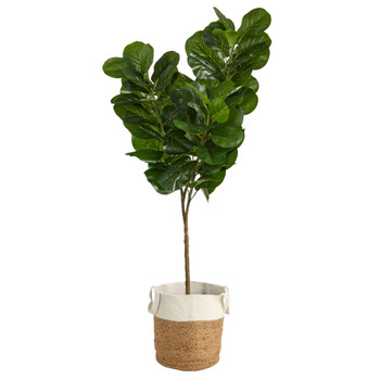6 Fiddle Leaf Fig Artificial Tree in Handmade Natural Jute and Cotton Planter - SKU #T2917
