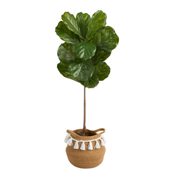 4 Fiddle Leaf Tree in Boho Chic Handmade Natural Cotton Woven Planter with Tassels UV Resistant - SKU #T2924