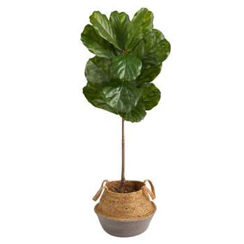 4 Fiddle Leaf Tree in Boho Chic Handmade Cotton Jute Gray Woven Planter UV Resistant - SKU #T2925