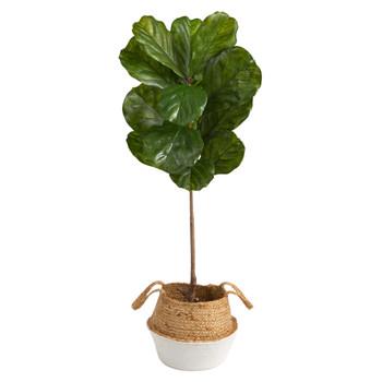 4 Fiddle Leaf Tree in Boho Chic Handmade Cotton Jute White Woven Planter UV Resistant - SKU #T2926