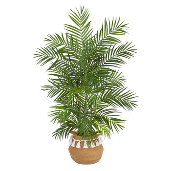 4 Areca Artificial Palm in Boho Chic Handmade Natural Cotton Woven Planter with Tassels - SKU #T2930