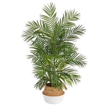 4 Areca Artificial Palm in Boho Chic Handmade Cotton Jute White Woven Planter - SKU #T2931