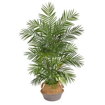 4 Areca Artificial Palm Branches in Boho Chic Handmade Cotton Jute Gray Woven Planter - SKU #T2932