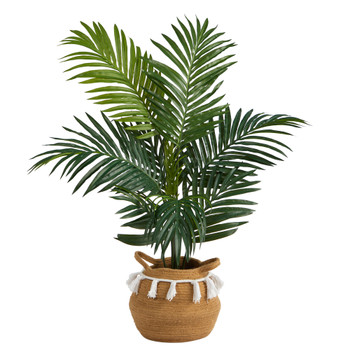 4 Kentia Palm Artificial Tree in Boho Chic Handmade Natural Cotton Woven Planter with Tassels - SKU #T2937