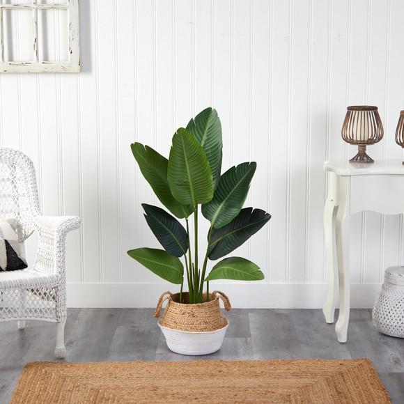 4 Travelers Palm Artificial Tree in Boho Chic Handmade Cotton Jute White Woven Planter - SKU #T2939 - 2