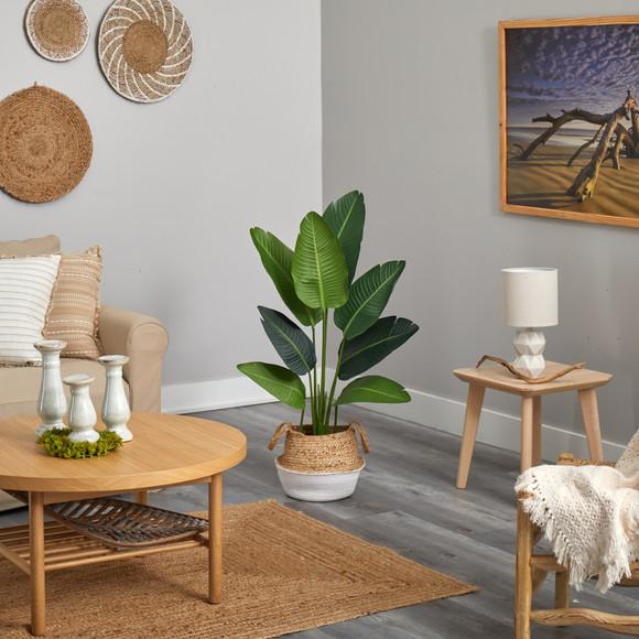 4 Travelers Palm Artificial Tree in Boho Chic Handmade Cotton Jute White Woven Planter - SKU #T2939 - 3