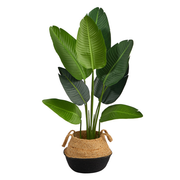 4 Travelers Palm Artificial Tree in Boho Chic Handmade Cotton Jute Black Woven Planter - SKU #T2940 - 1