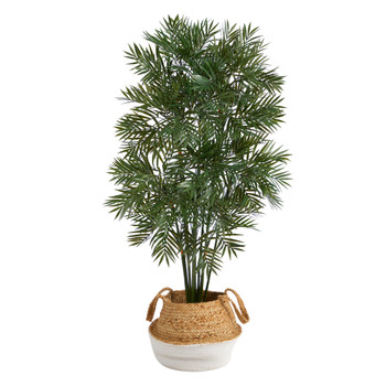 4 Parlor Palm Artificial Tree in Boho Chic Handmade Cotton Jute White Woven Planter - SKU #T2942