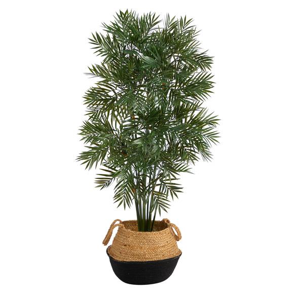 4 Parlor Palm Artificial Tree in Boho Chic Handmade Cotton Jute Black Woven Planter - SKU #T2943
