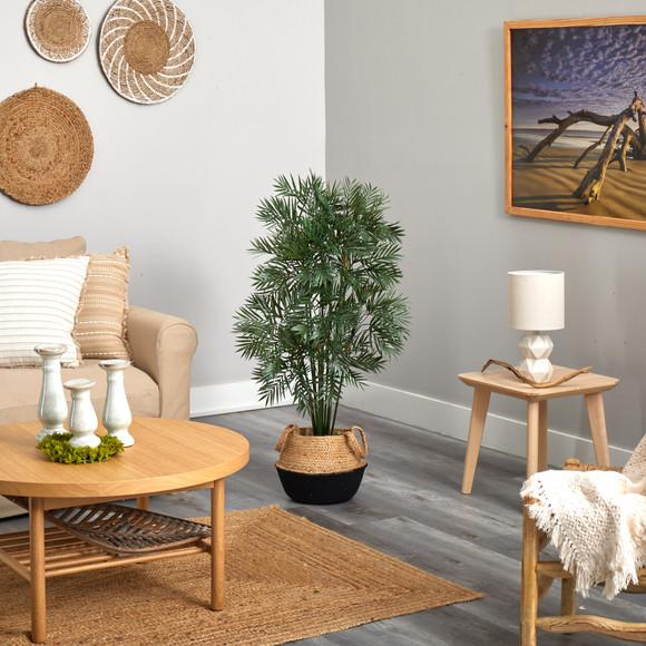 4 Parlor Palm Artificial Tree in Boho Chic Handmade Cotton Jute Black Woven Planter - SKU #T2943 - 3