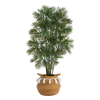 4 Parlor Palm Artificial Tree in Boho Chic Handmade Natural Cotton Woven Planter with Tassels - SKU #T2944