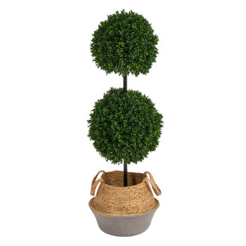 3.5 Boxwood Double Ball Topiary Tree in Boho Chic Handmade Cotton Jute Planter UV Resistant - SKU #T2945