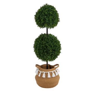 3.5 Boxwood Double Ball Topiary Tree in Boho Chic Handmade Natural Planter UV Resistant - SKU #T2946