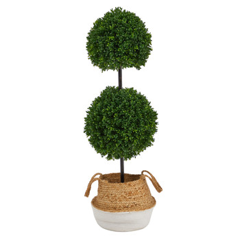 3.5 Boxwood Double Ball Topiary Tree in Boho Chic Handmade Cotton Jute Planter UV Resistant - SKU #T2947