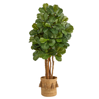 5 Fiddle Leaf Fig Artificial Tree in Handmade Natural Jute Planter with Tassels - SKU #T2951
