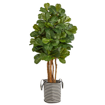 5 Fiddle Leaf Fig Artificial Tree in Handmade Black and White Natural Jute and Cotton Planter - SKU #T2952