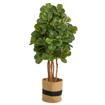 5 Fiddle Leaf Fig Artificial Tree in Handmade Natural Cotton Planter - SKU #T2953